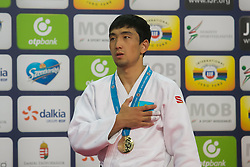 Gold medalist Zhansay Smagulov of Kazakhstan attends the award ceremony for men's -66 kg category at Grand Prix Budapest 2015 in Budapest, Hungary on June 13, 2015. EXPA Pictures &copy; 2015, PhotoCredit: EXPA/ Photoshot/ Attila Volgyi<br /> <br /> *****ATTENTION - for AUT, SLO, CRO, SRB, BIH, MAZ only*****