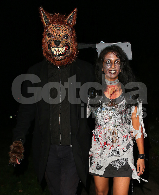 Konnie Huq and her husband Charlie Brooker attend Jonathan Ross' Halloween party in London, UK. 31/10/2015<br /> BYLINE MUST READ : JAMESY/GOTCHA IMAGES<br /> <br /> Copyright by &copy; Gotcha Images Ltd. All rights reserved.<br /> Usage of this image is conditional upon the acceptance <br /> of Gotcha Images Ltd, terms and conditions available at<br /> www.gotchaimages.com