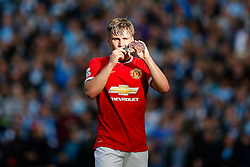 Luke Shaw of Manchester United takes a drink - Photo mandatory by-line: Rogan Thomson/JMP - 07966 386802 - 02/11/2014 - SPORT - FOOTBALL - Manchester, England - Etihad Stadium - Manchester City v Manchester United - Barclays Premier League.