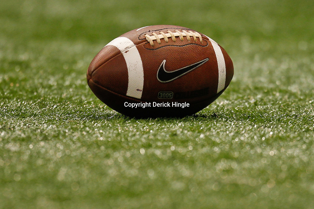 November 10, 2011; New Orleans, LA, USA; A detailed view of a football on the field for a game between the Tulane Green Wave and the Houston Cougars at the Mercedes-Benz Superdome.  Mandatory Credit: Derick E. Hingle-US PRESSWIRE