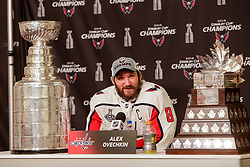 June 7, 2018: Washington Capitals left wing Alex Ovechkin (8) talks with reporters during press conference after the Washington Capitals and Vegas Golden Knights NHL Stanley Cup Final playoff game 5 at T-Mobile Arena in Las Vegas, NV. John Crouch/CSM