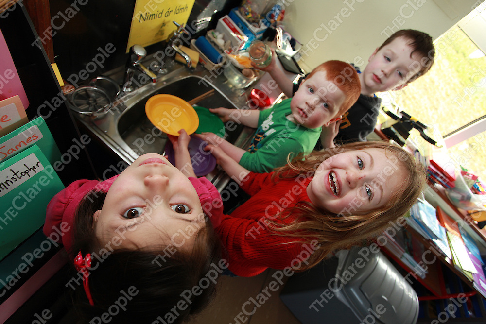 Students from Fanore National School Christopher Kelly, Grace Howard, Matthew Irwin and Jessica O' Donoghue learning to preserve their water as primary schools in county Clare are paying the 2nd highest rates in the Country.<br /> Photograph by Yvonne Vaughan