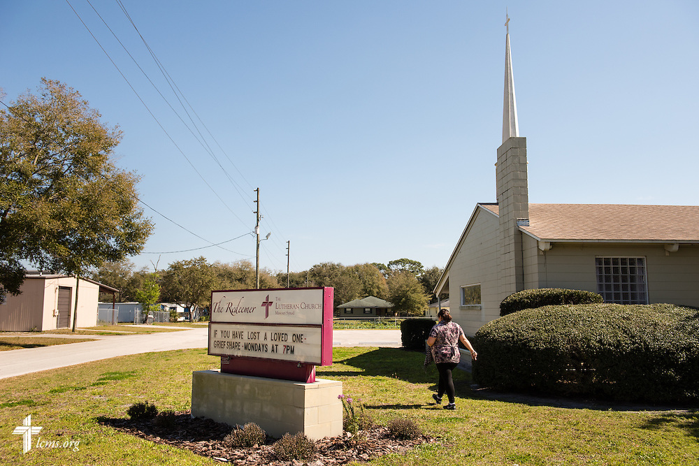 Lillian walks past Lutheran Church of the Redeemer on Thursday, Feb. 12, 2015, in Sanford, Fla.  LCMS Communications/Erik M. Lunsford