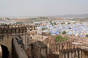 India, Rajasthan, Jodhpur, Mehrangarh fort. View to the city