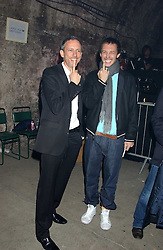 Left to right, PATRICK COX and VISCOUNT MACMILLAN  at a party for De Beers to celebrate the launch of their Rough diamond •Talisman Collectionê held at Shunt Vaults, London Bridge, London SE1 on 28th November 2005.<br />