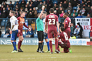 Bradford City Midfielder, Josh Cullen receives a yellow card during the Sky Bet League 1 match between Bury and Bradford City at the JD Stadium, Bury, England on 5 March 2016. Photo by Mark Pollitt.