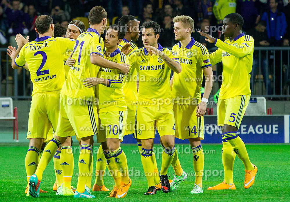 Players of Chelsea prior to the football match between NK Maribor, SLO  and Chelsea FC, ENG in Group G of Group Stage of UEFA Champions League 2014/15, on November 5, 2014 in Stadium Ljudski vrt, Maribor, Slovenia. Photo by Vid Ponikvar / Sportida