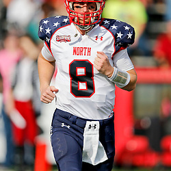 Jan 26, 2013; Mobile, AL, USA; Senior Bowl north squad quarterback Mike Glennon of North Carolina State (8) prior to kickoff of a game against the Senior Bowl south squad at Ladd-Peebles Stadium. Mandatory Credit: Derick E. Hingle-USA TODAY Sports