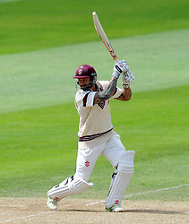 Somerset's Peter Trego drives the ball. Photo mandatory by-line: Harry Trump/JMP - Mobile: 07966 386802 - 26/05/15 - SPORT - CRICKET - LVCC County Championship - Division 1 - Day 3 - Somerset v Yorkshire - The County Ground, Taunton, England.