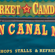 Sign at Camden Lock Market at the historic Horse Hospital, Camden Town, London, England, UK<br />