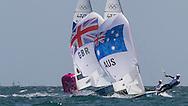 ENGLAND, Weymouth. 3rd August 2012. Olympic Games. Men's 470 Class. Mathew Belcher (AUS) Skipper, Malcolm Page (AUS) Crew followed by Luke Patience (GBR) Skipper, Stuart Bithell (GBR) Crew.