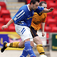 St Johnstone v Alloa Athletic..30.07.05  Bell's Cup<br />Stephen Dobbie scores St Johnstone's second goal.<br /><br />Picture by Graeme Hart.<br />Copyright Perthshire Picture Agency<br />Tel: 01738 623350  Mobile: 07990 594431