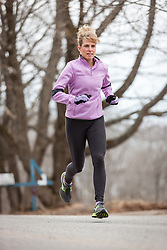 Sheri Piers trains in Cape Elizabeth Maine prior to competing in her 10th Boston Marathon