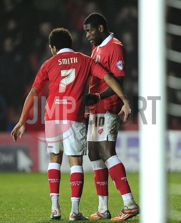 Bristol City's Jay Emmanuel-Thomas celebrates with Bristol City's Korey Smith  - Photo mandatory by-line: Joe Meredith/JMP - Mobile: 07966 386802 - 17/03/2015 - SPORT - Football - Bristol - Ashton Gate - Bristol City v Crewe Alexandra - Sky Bet League One