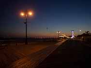 The boardwalk at dusk at Coney Island