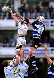 Don Armand of Exeter Chiefs wins the ball at a lineout - Mandatory byline: Patrick Khachfe/JMP - 07966 386802 - 17/10/2015 - RUGBY UNION - The Recreation Ground - Bath, England - Bath Rugby v Exeter Chiefs - Aviva Premiership.