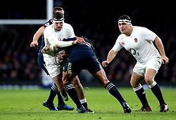 Elliot Daly of England is tackled - Mandatory by-line: Robbie Stephenson/JMP - 04/02/2017 - RUGBY - Twickenham - London, England - England v France - RBS Six Nations
