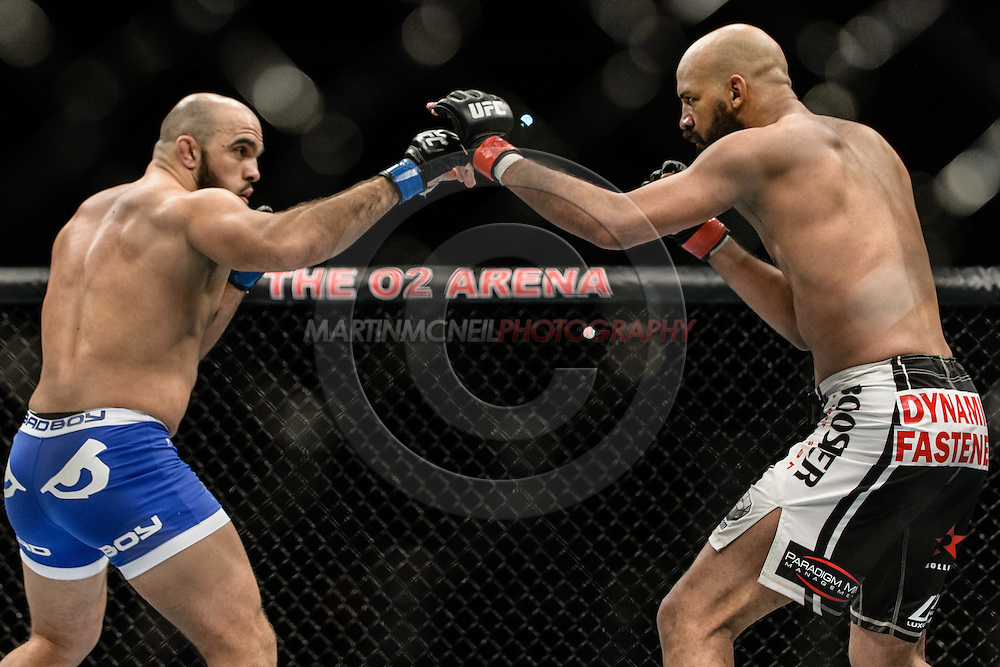 "LONDON, ENGLAND, MARCH 8, 2014: Ilir Latifi and Cyrille Diabate during ""UFC Fight Night: Gustafsson vs. Manuwa"" inside the O2 Arena in Greenwich, London on Saturday, March 8, 2014 (© Martin McNeil)"