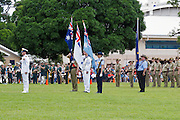 Australian military flag bearers during Cairns ANZAC Day parade 2010.