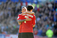 Cardiff city's Peter Whittingham celebrates with Craig Bellamy after he scores his sides 2nd goal from a free kick.  NPower championship, Cardiff city v Blackpool at the Cardiff city Stadium in Cardiff, South Wales on Saturday 29th Sept 2012.   pic by  Andrew Orchard, Andrew Orchard sports photography,