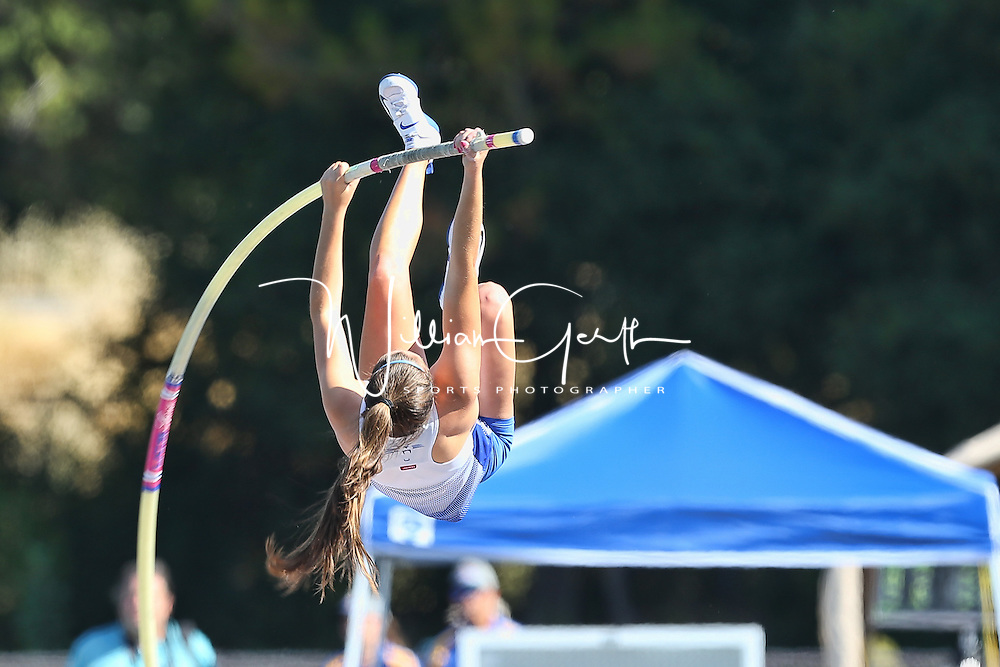 (Photograph by Bill Gerth for SVCN/5/27/16) Presentation Pole Vaulter Sydney Jaques during (3rd place, 12.01)  the CCS Track and Field Championships at Gilroy High School, Gilroy CA on 5/27/16.
