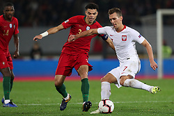 November 20, 2018 - Guimaraes, Guimaraes, Portugal - Arkadiusz Milik forward of Poland (R) vies with Pepe defender of Portugal (L) during the UEFA Nations League football match between Portugal and Poland at the Dao Afonso Henriques stadium in Guimaraes on November 20, 2018. (Credit Image: © Dpi/NurPhoto via ZUMA Press)