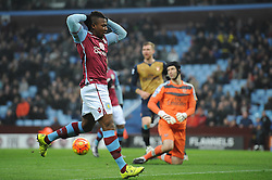 Adama Traore of Aston Villa cuts a dejected figure as he comes close to scoring - Mandatory byline: Dougie Allward/JMP - 13/12/2015 - Football - Villa Park - Birmingham, England - Aston Villa v Arsenal - Barclays Premier League