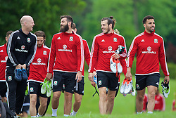 CARDIFF, WALES - Wednesday, June 1, 2016: Wales' Joe Ledley, Gareth Bale and Hal Robson-Kanu before a training session at the Vale Resort Hotel ahead of the International Friendly match against Sweden. (Pic by David Rawcliffe/Propaganda)