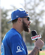 Jan 23, 2019; Kissimmee, FL, USA; Tampa Bay Buccaneers wide receiver Mike Evans (13)  smiles after NFC practice and while doing a spot for ESPN 8 The Ocho for the 2019 Pro Bowl at ESPN Wide World of Sports Complex. (Steve Jacobson/Image of Sport)