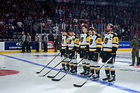 REGINA, SK - MAY 18: The Hamilton Bulldogs starting line up at the Brandt Centre on May 18, 2018 in Regina, Canada. (Photo by Marissa Baecker/Shoot the Breeze)