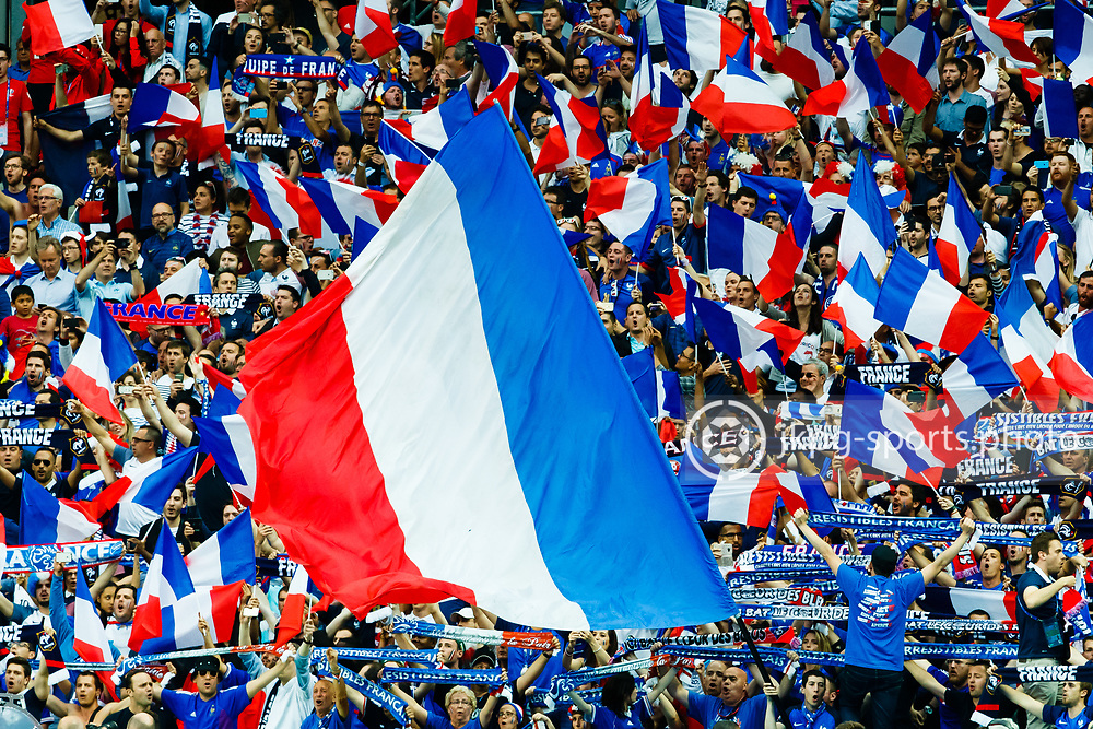 June 10 2016, Euro 2016 France - Romania<br /> French fans with flags during the game.<br /> Editorial Use Only.<br /> Local caption:<br /> Em Fotboll, Frankrike - Rum&auml;nien, 20160610<br /> Franska supportrar med flaggor under matchen.<br /> Endast f&ouml;r redaktionellt bruk.<br /> &copy; Daniel Malmberg/IBL/All Over Press