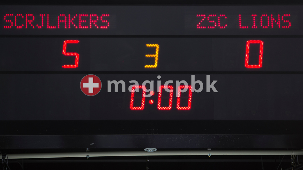 The final score of 5-0 seen on the scoreboard after the third Elite B Playoff Final ice hockey game between Rapperswil-Jona Lakers and ZSC Lions held at the SGKB Arena in Rapperswil, Switzerland, Wednesday, Mar. 15, 2017. (Photo by Patrick B. Kraemer / MAGICPBK)