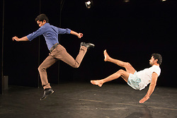 © Licensed to London News Pictures. 21/10/2015. London, UK. The duet NH7 by Bangalore-born Deepak Kurki Shivaswamy is performed by dancers Charan C S (left) and Amaresha Kempanna (right). Dance Umbrella presents Out of India: Modern Moves at the Pit Theatre, Barbican Centre, from 21 to 24 October 2015. Photo credit: Bettina Strenske/LNP