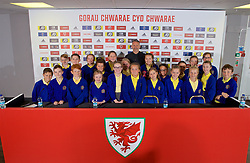 BARRY, WALES - Thursday, October 3, 2019: Wales manager Ryan Giggs poses for a photograph with school children from Ysgol Gymraeg after a press conference to announce his squad for the forthcoming UEFA Euro 2020 Qualifying Group E qualifying matches against Slovakia and Croatia. (Pic by David Rawcliffe/Propaganda)