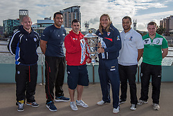 © Licensed to London News Pictures . 26/10/2012 . Salford , UK . L-R: Paul Jackson of Scotland , Manese Manuo-Kafoa of Tonga , Rhys Williams of Wales , Eorl Crabtree of England ,  Tony Puletua of Somoa and Matty Hadden of Ireland with the landscape of Media City behind . Press conference marking a one year countdown to the start of the 2013 Rugby League World Cup , which is being hosted by England and Wales . Photo credit : Joel Goodman/LNP