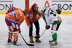 Skier from Finland Kalle Palander at first face off during ice-hockey match between HK Acroni Jesenice and HDD Tilia Olimpija in 33rd Round of EBEL league, on Januar 1, 2011 at Dvorana Podmezaklja, Jesenice, Slovenia. (Photo By Matic Klansek Velej / Sportida.com)