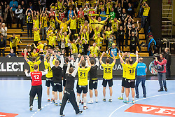 RK Gorenje Velenje players celebrate during handball match between RK Gorenje Velenje and Kadetten Schaffhausen in VELUX EHF Champions League, on November 25, 2017 in Rdeca Dvorana, Velenje, Slovenia. Photo by Ziga Zupan / Sportida