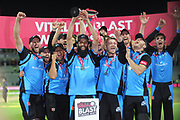 Worcestershire lift the vitality blast trophy during the final of the Vitality T20 Finals Day 2018 match between Worcestershire Rapids and Sussex Sharks at Edgbaston, Birmingham, United Kingdom on 15 September 2018.