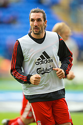 BOLTON, ENGLAND - Saturday, August 29, 2009: Liverpool's Sotirios Kyrgikaos warms-up before the Premiership match against Bolton Wanderers at the Reebok Stadium. (Photo by David Rawcliffe/Propaganda)