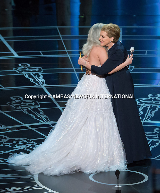 22.02.2015; Hollywood, California: 87TH OSCARS - LADY GAGA HUGS JULIE ANDREWS<br /> after Lady gag's performance during the Annual Academy Awards Live Telecast, Dolby Theatre, Hollywood.<br /> Mandatory Photo Credit: NEWSPIX INTERNATIONAL<br /> <br />               **ALL FEES PAYABLE TO: &quot;NEWSPIX INTERNATIONAL&quot;**<br /> <br /> PHOTO CREDIT MANDATORY!!: NEWSPIX INTERNATIONAL(Failure to credit will incur a surcharge of 100% of reproduction fees)<br /> <br /> IMMEDIATE CONFIRMATION OF USAGE REQUIRED:<br /> Newspix International, 31 Chinnery Hill, Bishop's Stortford, ENGLAND CM23 3PS<br /> Tel:+441279 324672  ; Fax: +441279656877<br /> Mobile:  0777568 1153<br /> e-mail: info@newspixinternational.co.uk