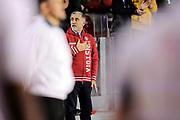 DESCRIZIONE : Roma Lega A 2014-15 <br /> Acea Virtus Roma - Giorgio Tesi Group Pistoia<br /> GIOCATORE : <br /> CATEGORIA : pre game inno curiosita tifosi<br /> SQUADRA : Giorgio Tesi Group Pistoia<br /> EVENTO : Campionato Lega A 2014-2015 <br /> GARA : Acea Virtus Roma - Giorgio Tesi Group Pistoia<br /> DATA : 22/03/2015<br /> SPORT : Pallacanestro <br /> AUTORE : Agenzia Ciamillo-Castoria/N. Dalla Mura<br /> Galleria : Lega Basket A 2014-2015  <br /> Fotonotizia : Roma Lega A 2014-15 Acea Virtus Roma - Giorgio Tesi Group Pistoia