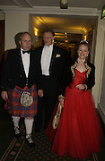 Ian Liddle-Grainger, Christopher Arkell and Marina Arkell, The Royal Caledonian Ball 2004. Grosvenor House, 21 May 2004. ONE TIME USE ONLY - DO NOT ARCHIVE  © Copyright Photograph by Dafydd Jones 66 Stockwell Park Rd. London SW9 0DA Tel 020 7733 0108 www.dafjones.com