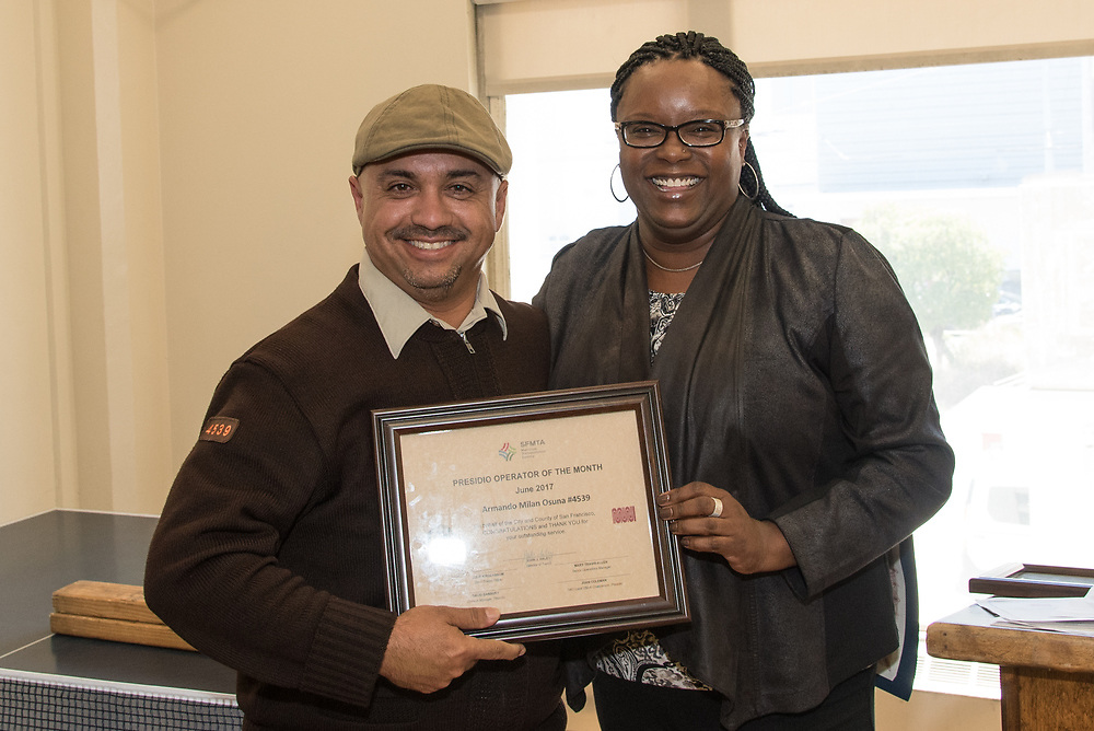 June Operator of the Month Armando Milan-Osuna Receiving Award at Presidio Division | July 12, 2017