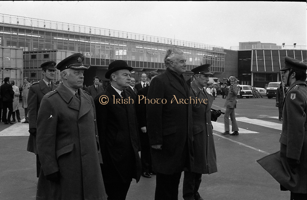 Australian Prime Minister Visits Ireland.   (H79)..1974..23.12.1974..12.23.1974..23rd December 1974..As part of his tour of E.E.C. Capital Cities,Mr Gough Whitlam, the Australian Prime Minister visited Dublin today. In Dublin he will have talks with An Taoiseach, Mr Liam Cosgrave...An Taoiseach,Mr Liam Cosgrave and the Australian prime Minister,Mr Gough Whitlam pictured as they are met by the officer in charge of thr guard of honour.