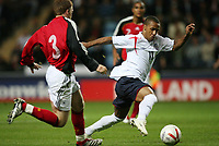 Photo: Rich Eaton.<br /> <br /> England U21 v Germany U21. UEFA European Championship Play-Off 1st Leg. 06/10/2006. Wayne Routledge right of England takes on the Germany defence