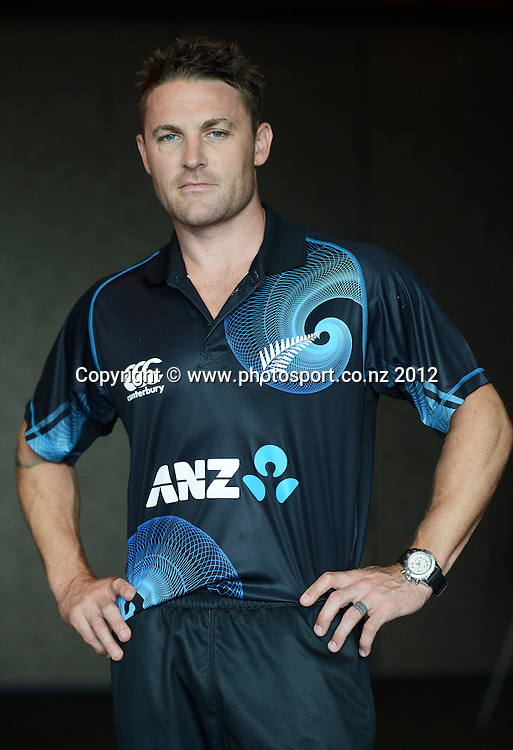 Brendon McCullum, New Zealand Black Caps photoshoot and portrait / headshots session. International Cricket. Novotel Hotel, Auckland. 12 December 2012. Photo: Andrew Cornaga/photosport.co.nz