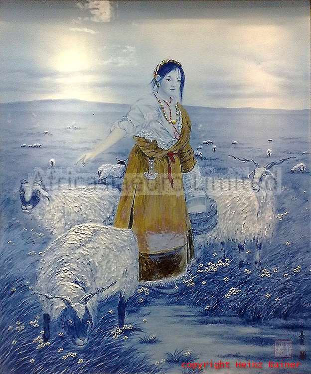 Shepherd with sheep, northern China