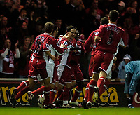 Photo: Jed Wee.<br /> Middlesbrough v Charlton Athletic. The FA Cup. 12/04/2006.<br /> <br /> Middlesbrough celebrate with goalscorer Fabio Rochemback (C).