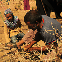 Doha helps her father to cut the wood near their tent