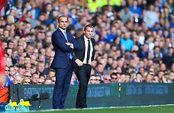 Everton Manager, Roberto Martinez and Liverpool Manager, Brendan Rodgers  - Mandatory byline: Matt McNulty/JMP - 07966 386802 - 04/10/2015 - FOOTBALL - Goodison Park - Liverpool, England - Everton  v Liverpool - Barclays Premier League